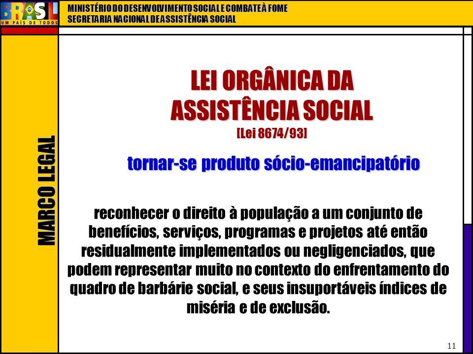 LEI ORGÂNICA DA ASSISTÊNCIA SOCIAL [Lei 8674/93]
